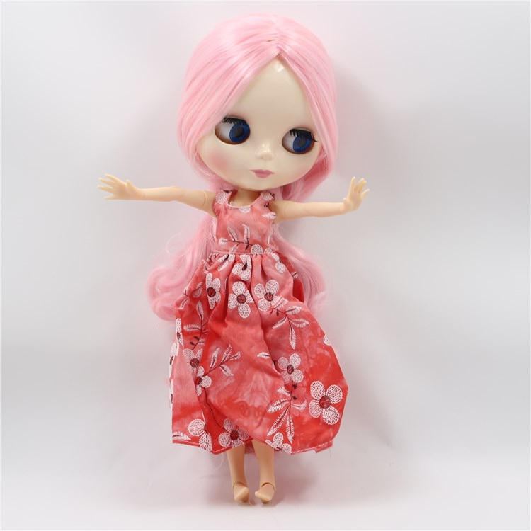 blyth doll nude joint body pink long hair in the middle DIY cute dolls for girls [zob] 100