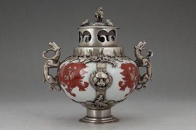Китайский ручной работы Картина Дракон Кирин старый фарфор курильница украшения сада 100% Настоящее Тибетский серебро латунь