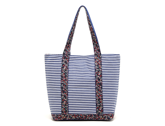 Free Shipping Casual Canvas Shopping Bags with Striped and Florals Pattern Women Handbags Shoulder Bags Shopping Bag