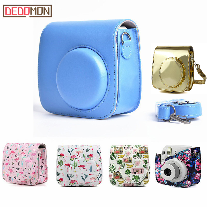 Leather Camera Shoulder Strap Bag Protect Case Pouch For Fujifilm Instax Mini 8 8+ mini 9 cases Small Compact Camera Backpack(China)