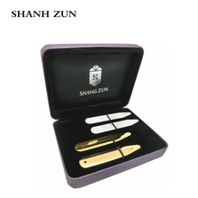 SHANH ZUN Stainless Steel Collar Stays Mother of Pearl Shell Bones 2 Pairs Gift Set for Dress Shirt Sizes