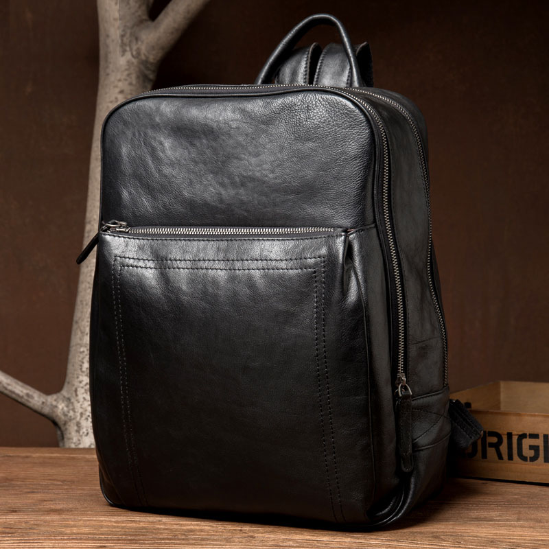 58cdc2d2d8 Men Business Backpack Travel Bag Slim Laptop Backpack School Bags Office  Men Bag Genuine Leather Backpack Male For Teenager-in Backpacks from Luggage    Bags ...