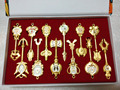 12 Pcs/set New! Fairy Tail Aries / Taurus / Gemini  Keys Cos Pendants Anime Gold Zinc Alloy Keychains