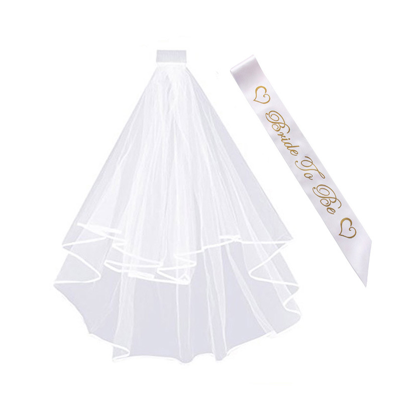 Bridal Shower Decoration Bride To Be Satin Sash Hen Party Veil Wedding Decorations Shoulder Bride To Be Party Supplies TB20 (5)