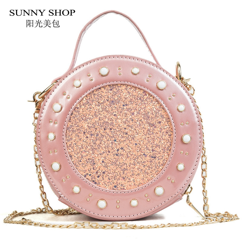 SUNNY SHOP Pearl Rivets Bling Bling Circular Womens Bag 2018 Summer New Chain Mini Messenger Bag Cute Candy Shoulder Bag Girls