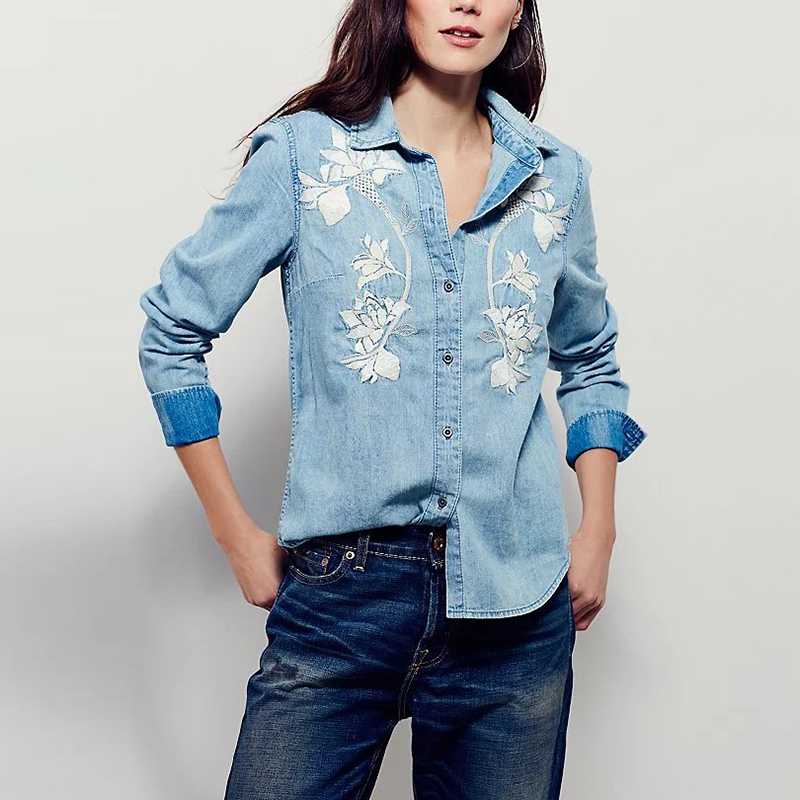 New women fashion embroidered denim long sleeved shirt for Blue denim shirt for womens