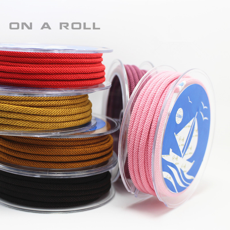 3mm Twisted Twine Milan Cord Jewelry Accessories Macrame Rope Necklace String Cords 2m/roll 16color
