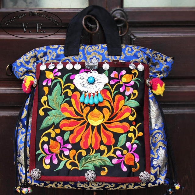 New Vintage Embroidered Women Handbag Bohemia Thailand Canvas Floral Tassel Cloth Pompon Shoulder Messenger Bags