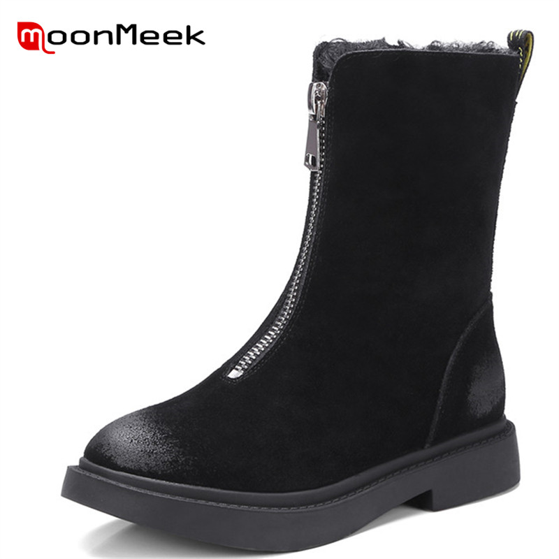 MoonMeek high quality ankle boots ladies comfortable plush shoes new arrive flock woman boots casual low heel boots winterMoonMeek high quality ankle boots ladies comfortable plush shoes new arrive flock woman boots casual low heel boots winter