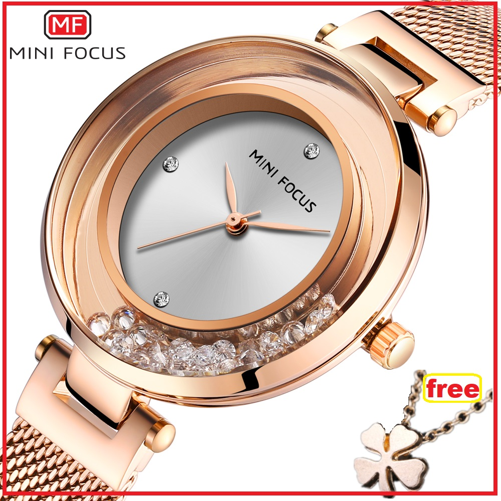 Mini Focus Women Watches Lady Luxury Watch Casual Crystal Waterproof Fashion Mesh Belt Clock Woman Dress Wristwatches For Girls