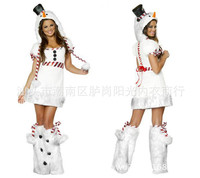 Sexy Costumes For Halloween Christmas Disfraces Adultos Mujer For Cosplay Games Sexy Snow White Xmas Hat+Dress+Foot Sets WL119