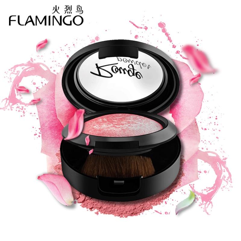 Krem fytyre bukuroshe FLAMINGO me fytyrë furçë me pasqyrë furçë Ngjyra mëndafshi me ngjyrë të butë dhe të ndritshme 3 ngjyrave të pjekura