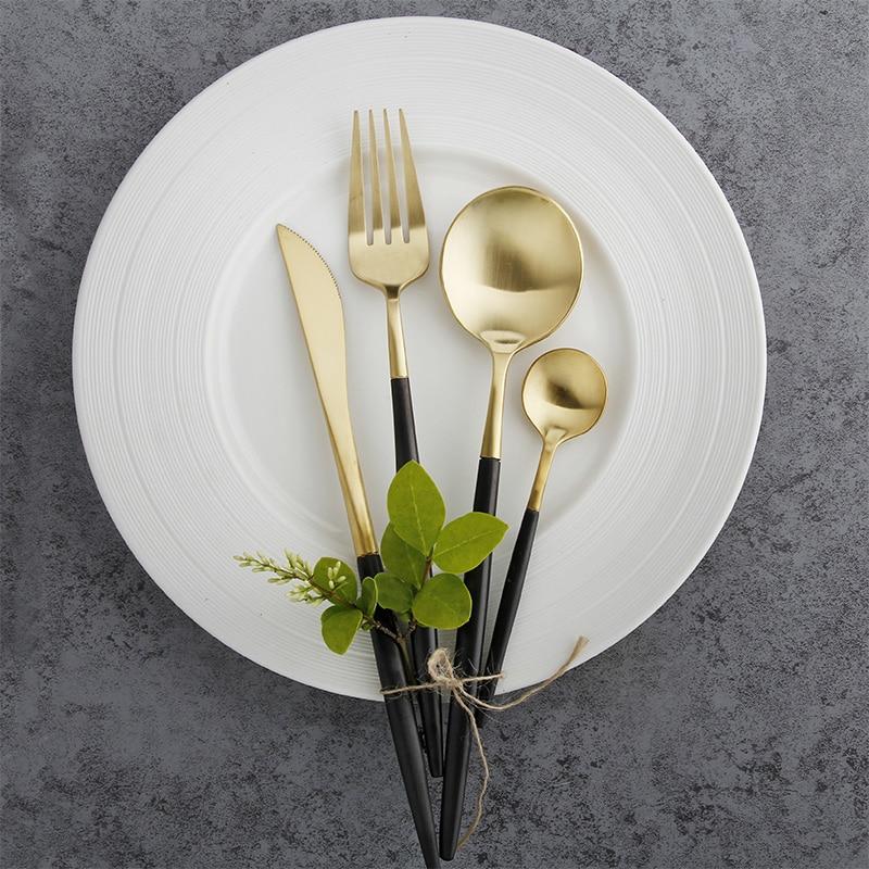 24pcs Western Luxury Black Gold Cutlery <font><b>Set</b></font> 18/10 Stainless Steel Frost Dinner <font><b>Knives</b></font> Forks Restaurant <font><b>Dinnerware</b></font> <font><b>Sets</b></font>