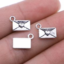 WYSIWYG 50pcs/lot Love Letter Charms Pendant DIY Metal Jewelry Making Antique Silver Color 9x12mm(China)