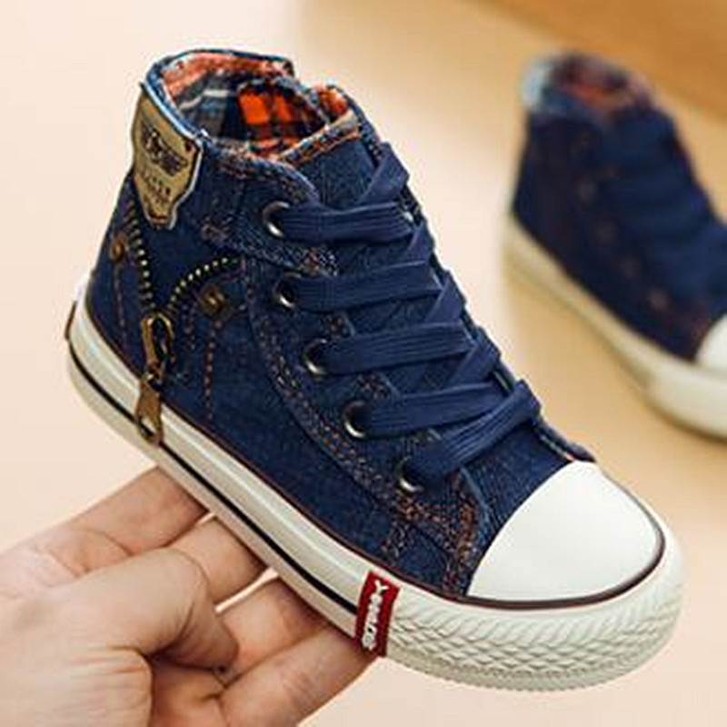 Spring/Autumn Fashion High Help Canvas Shoes Children Flats Breathable Casual Kids Denim Side Zipper Boys Girls Sneakers 04