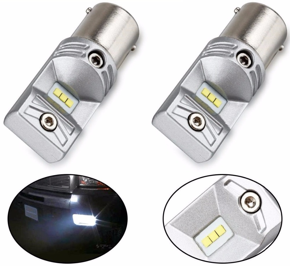 2Pcs Super Bright CSP Chip!!! 80w P21W WHITE CANBUS ERROR FREE LED CAR BULB REVERSE DRL Driving Bulbs 1156 382 2 x error free super bright white led bulbs for backup reverse light 921 912 t15 w16w for peugeot 408