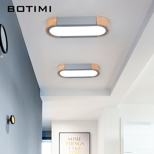 Image 3 - BOTIMI Office 220V LED Ceiling Lights With Metal Lampshade For Living Room Long Shaped Bedroom Wooden Surface Mounted Lighting