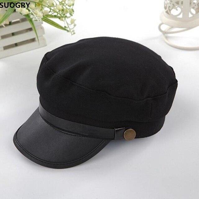 97c92ac29e282 Military Cap Hat Female Winter Hats For Women Men Ladies Army Militar Hat  Pu Leather Visor Black Cap Sailor Hat Bone Male
