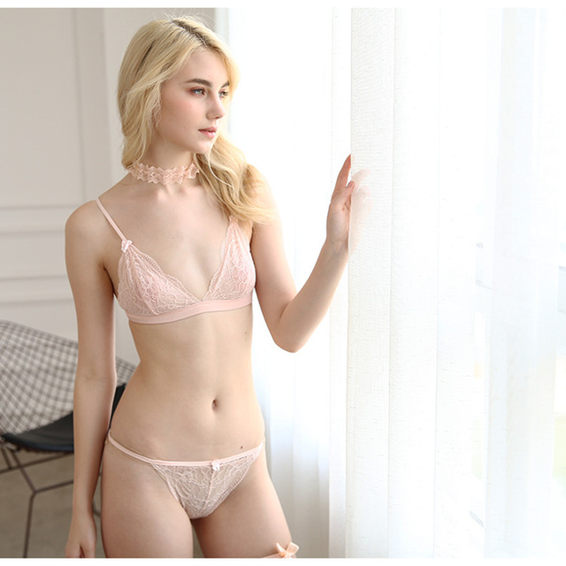 882ef97ff9 Sexy Wireless Bra Set Lace Transparent Ultra-thin Push Up White Breathable  Underwear Satin Embroidery Bra Sets With Panties