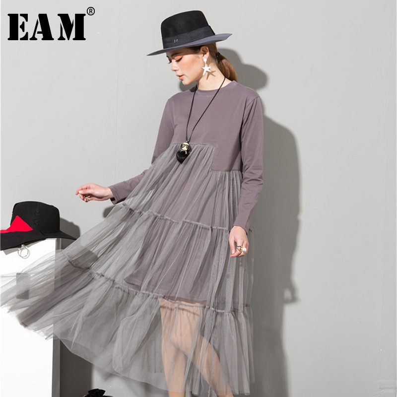 [EAM] 2020 Spring  Fashion New O-Neck Long Sleeve Lace Split Joint Hem Sexy Gray Dress Woman Fashion Tide All-match AS3362