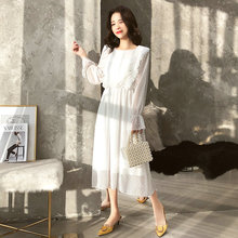 купить 2019 Women Chiffon Dress Boho Ruffles Polka Dot Elastic Waist Flare Sleeve O-neck Female Long Retro A-line Dress Ladies Vestidos по цене 1672.57 рублей