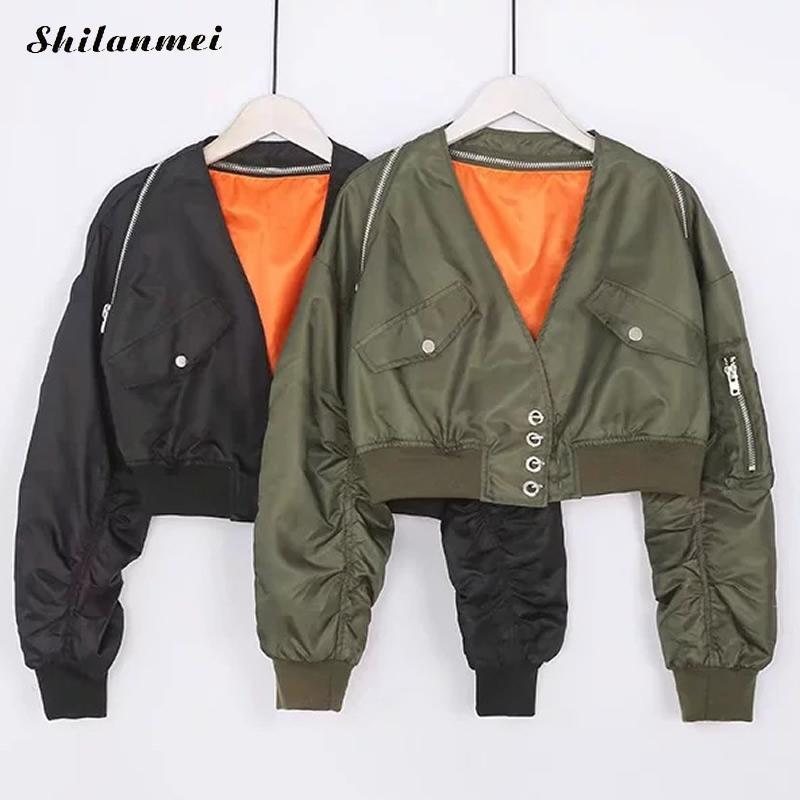 Women Short Coat Long Sleeve Zipper Bomber Jackets Black Army Green Baseball Autumn Outerwear Women Casual Cropped Jacket Coats