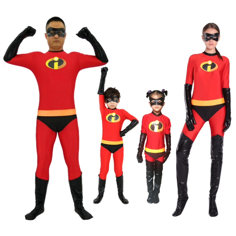 Incredibles 2 Costume Mr Mrs Incredibles Cosplay Elastigirl Hulk Spider-man Family Adult Kid Disfraz Niño Suit Jumpsuit Bodysuit