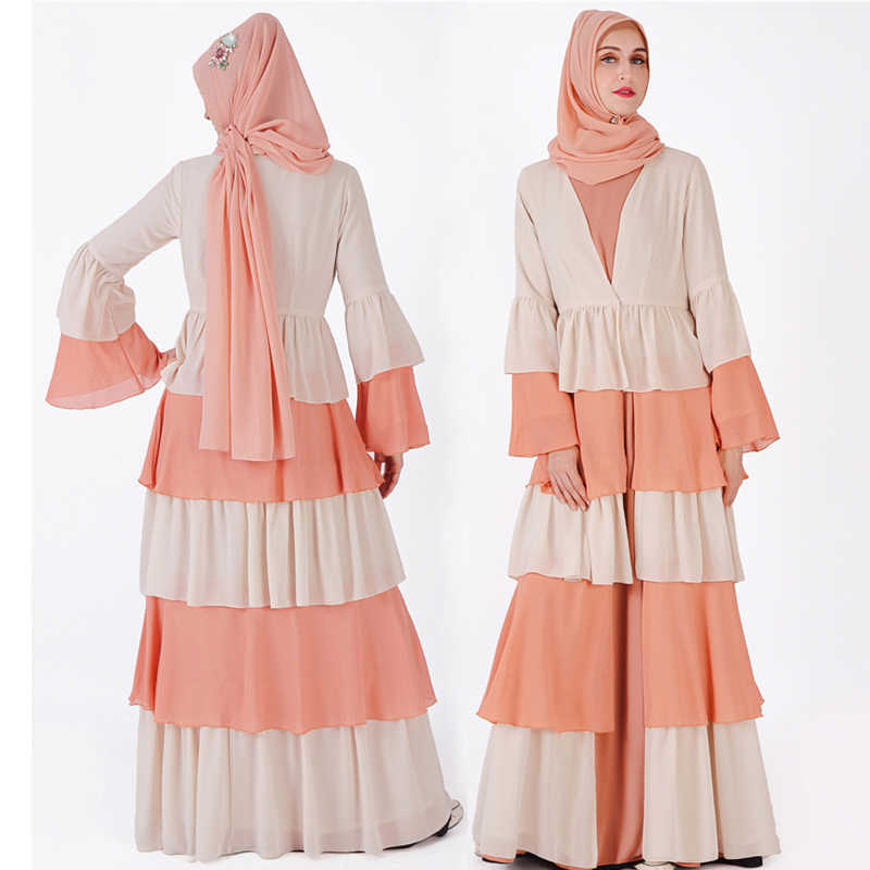 Платье Дубая мусульманский хиджаб платье Малайзия шифон кардиган джилбаба кафтан Рамадан Абая для женщин турецкая исламская Костюмы