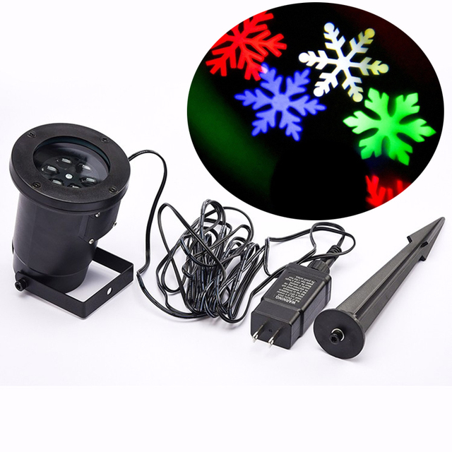 LED Snowflake Effect Lights Outdoor Christmas Light Projector Garden Outside Holiday Xmas Tree Decoration Landscape Lighting