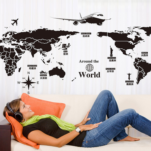 Removable large world map wall sticker airplane diy wall mural removable large world map wall sticker airplane diy wall mural decals decor for living room office gumiabroncs Image collections