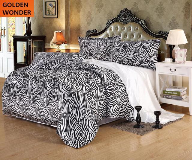 Neue Entwurfsqualität Druck Silk Satin Bettwäsche Sets Leopard Print