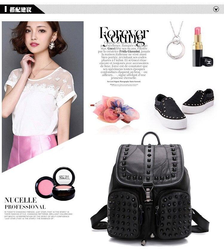 Women Giril Sheepskin Leather Backpack SchoolBag New Fashion Street ... 2c1fe1a78014