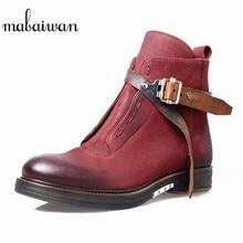 Mabaiwan 2017 Женская обувь Ботильоны из натуральной кожи Туфли без каблуков Военное Дело ковбойские ботинки с пряжкой мотоботы обувь на молнии Для женщин
