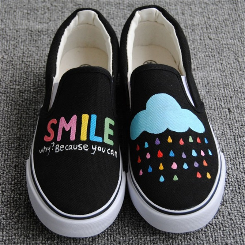 Hot Sale 2017 Autumn Women Hand Painted Canvas Shoes Cartoon Casual Flats Loafers Slip on Platform Creepers Size 35-44 loafers 2016 new cartoon anime figure despicable me 2 minion shoes couples hand painted canvas shoes women men casual shoes big size 10