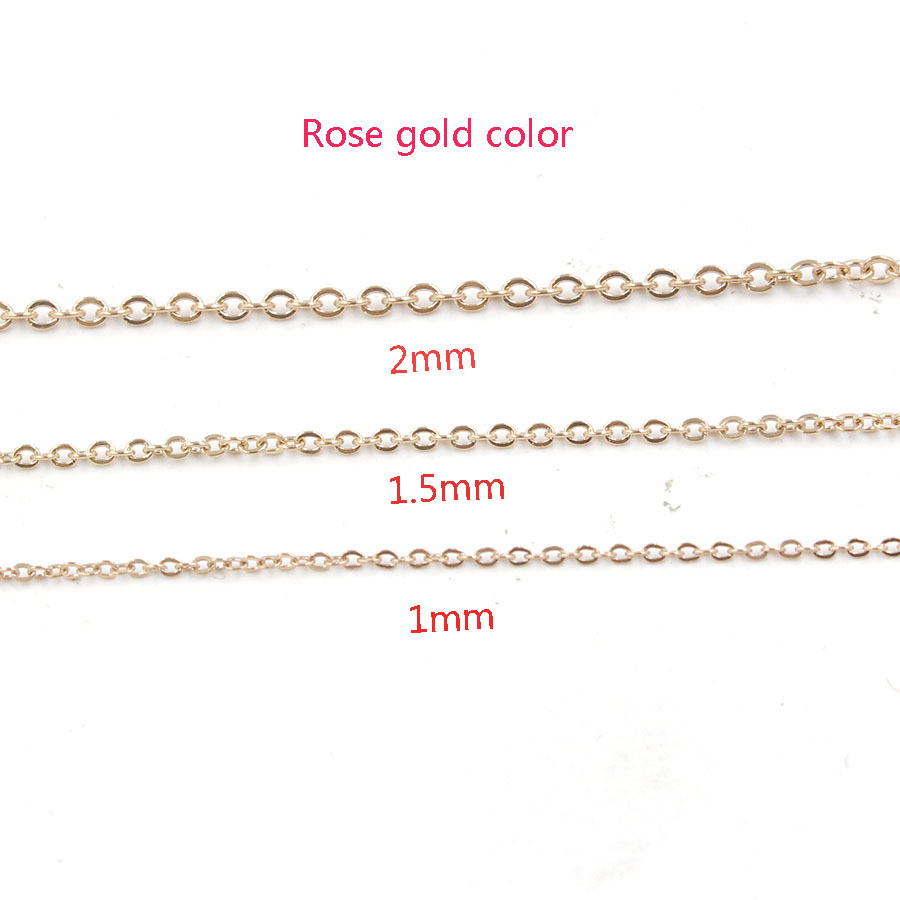 Fnixtar40cm 45cm 50cm Rose Gold Stainless Steel DIY Necklace Chain <font><b>1mm</b></font> 1.5mm 2mmThickness Chain <font><b>Cable</b></font> Chains Necklace 10pcs/lot image