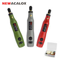 NEWACALOX DIY Mini Rotary Tool USB 5V DC 10W Variable Speed Wireless Electric Grinder Set Wood Carving Pen for Milling Engraving