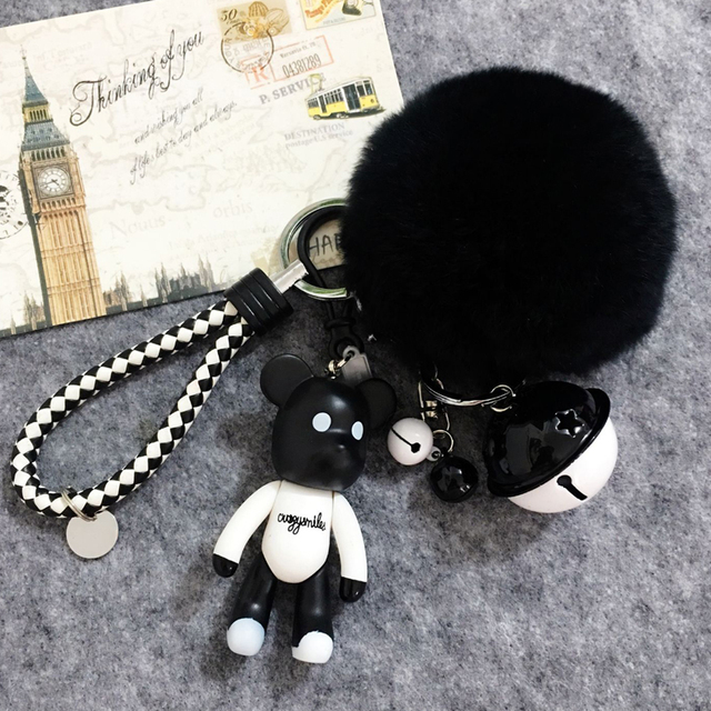 Cute Bomgom Bears Keychain 8cm Rabbit Fur Ball Pom Pom Key Ring Car Bag  Charm Women ec6fd23331777