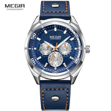 Men's Blue Leather Analogue Quartz Wrist Watches Smart Week Date 24 Hours Watch for Man Clock Relogios Masculino 2072GBE-2 недорого
