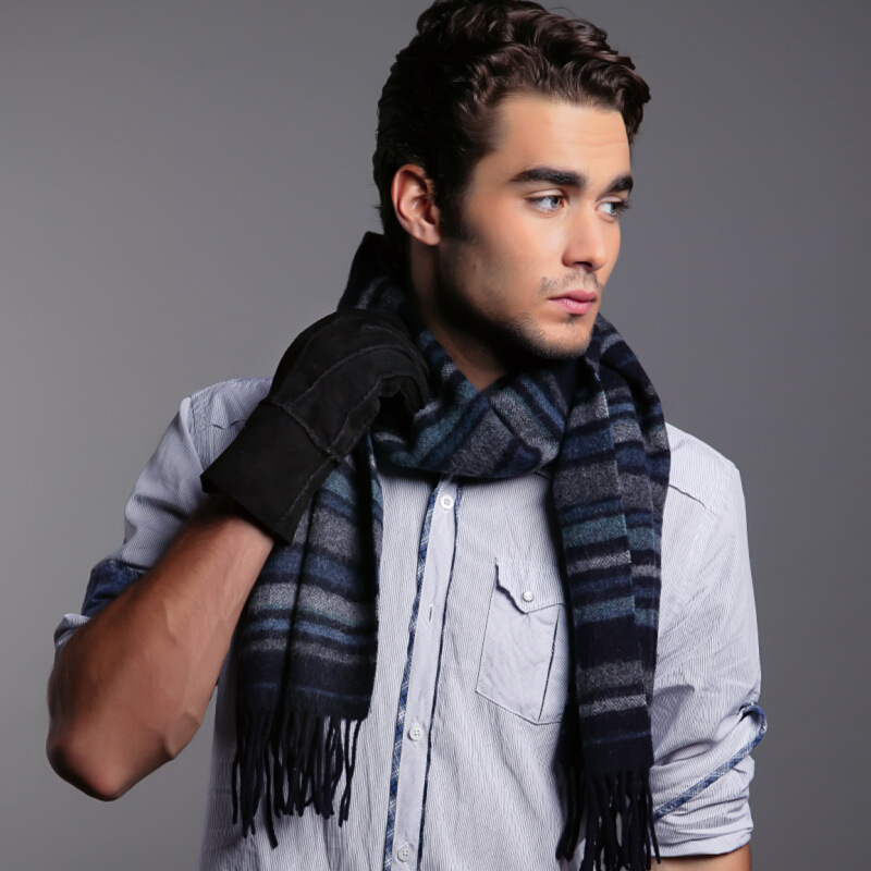 The scarf male autumn winter warm tassel collar B5019 font b tartan b font wool scarf