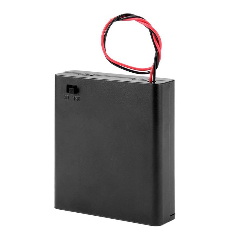 6V 4 X AA support de batterie housse porte-fente boîte de rangement en plastique avec fils de commutation OFF/ON pour pièces RC pour sortie DC 6V