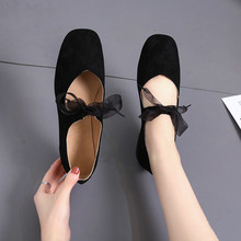 2019 summer women flats square square head suede sh