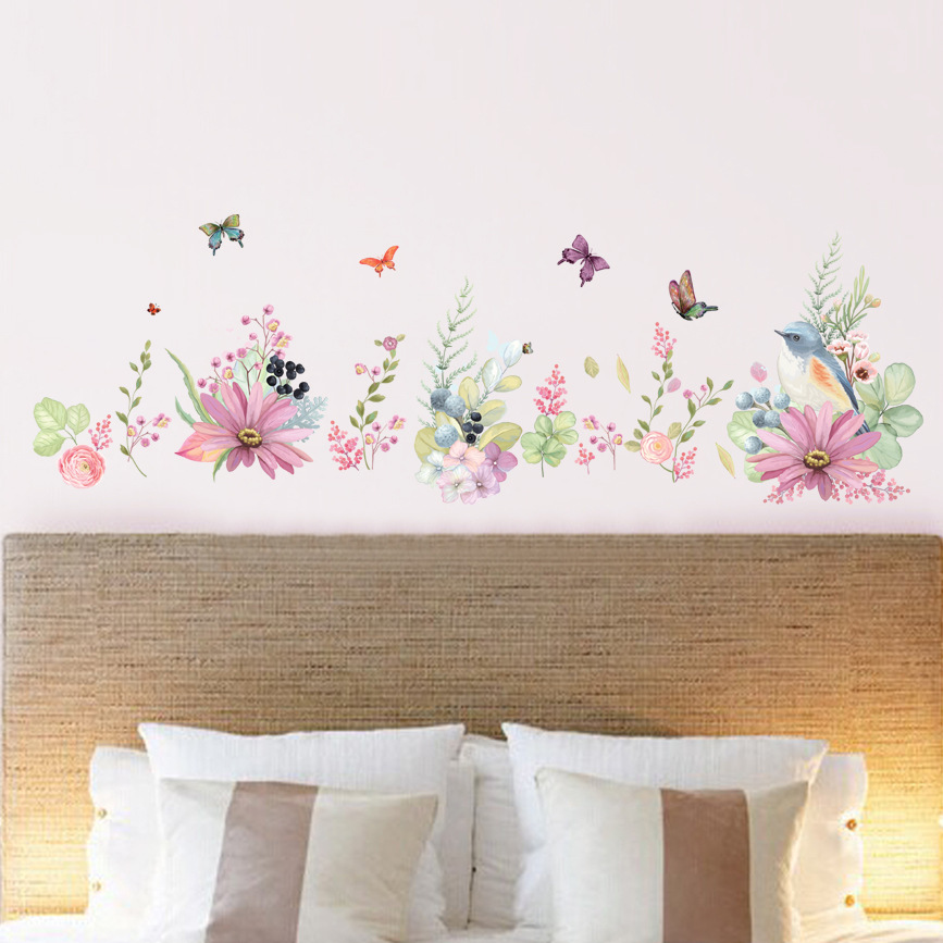 Simulation painted flowers and birds wall stickers home decoration garden wind butterfly bedroom warm floral translucent decals