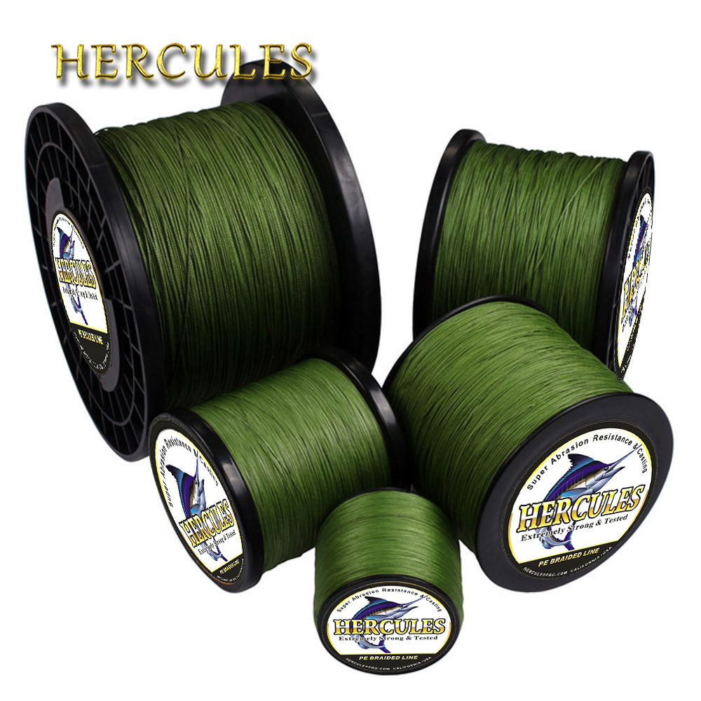 Hercules Braided Fishing Line Sea Saltwater Fishing 8 Strands Army Green 100M 300M 500M 1000M 1500M 2000M 100% PE Trenzado Pesca