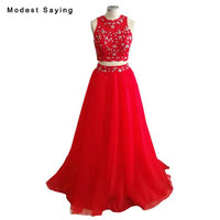 Real Photo Elegant Red A Line Crystal Lace Evening Dresses 2018 New Formal Women Long Crop Top Party Prom Gowns vestido de festa