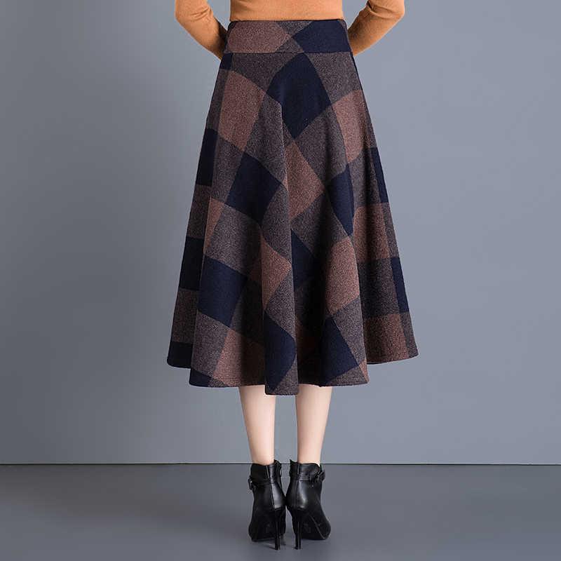 7a77944cf5 ... Vintage Plaid Skirt Women Autumn Winter England Style High Waist Woolen  Skirt Midi Length Elegant Plus ...