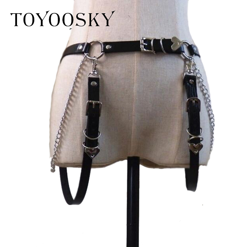 Women Gothic Punk Heart Shape   Belt   for Women Rock Hip-hop with Two Ring Chain Waist   Belts   Ins Second Cowskin TOYOOSKY