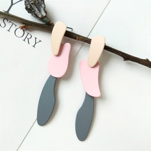 Creative collision color asymmetry geometry ear earring long temperament simple fashion earrings wholesale