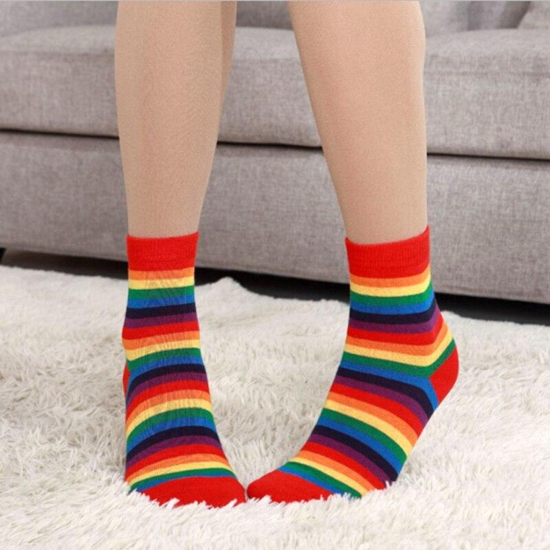 NEW 2019 Cute Casual Lady Rainbow Striped Cotton Woman Heart Rainbow Ankle-High Socks