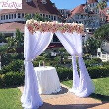 Fengrise 5m 10m noiva decoração de festa casamento organza tule tecido sheer swag pano de fundo cortina rústico decoração de casamento festa evento