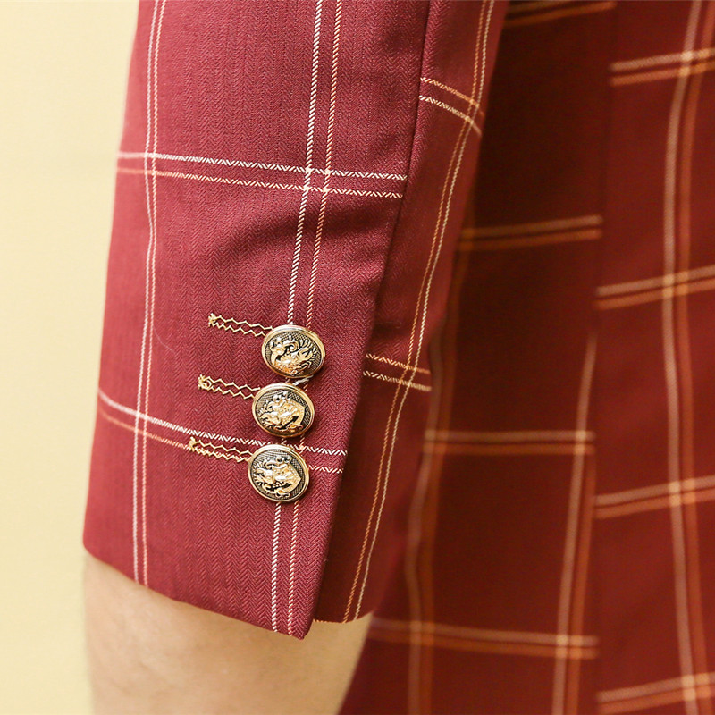 Fit Plaid Taille Trimestre Hommes Nouveau Costume red Slim Asiatique Mode Treillis Vêtements Purple De Mogu Trois Pièce 0kOPXn8w